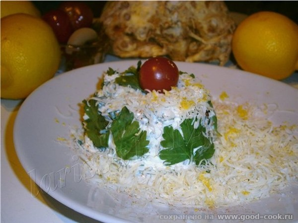 Салат из сельдерея, яблока и петрушки, с лимонным ароматом Понадобится: 200 г очищенного клубня сельдерея 1 крупное яб...