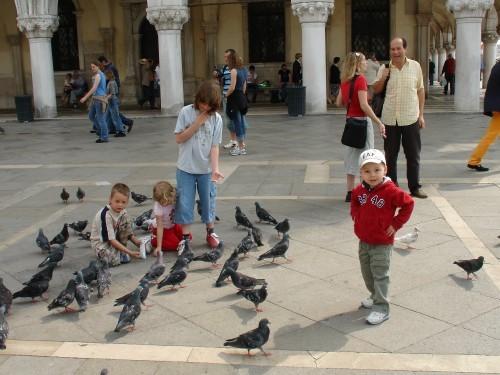 Это дети кормят голубей, на площади можно за евро купить кукурузу для голубей Вид из моста Риалто Я...