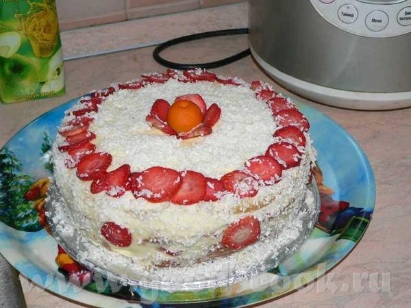 Торт с клубникой и муссом из белого шоколада (стибрила с книжки) Пекла на выпечке 65 мин