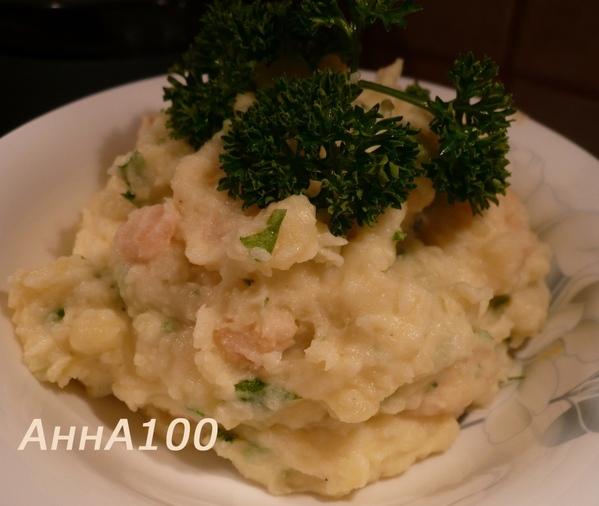 Картофельное пюре с васаби и креветками