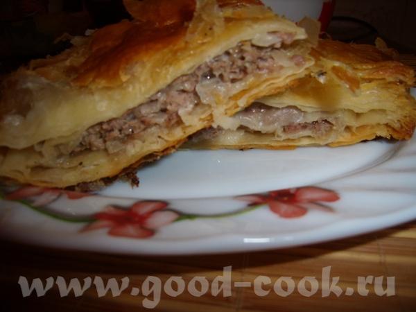 СЛОЕНЫЙ ПИРОГ С МЯСНЫМ ФАРШЕМ Пирог очень прост и быстр в приготовлении, но очень вкусный - 2