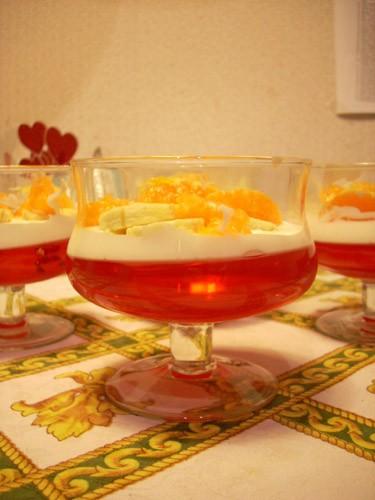 Желе с творожным кремом и фруктами Сливочно-йогуртовый крем с фруктами