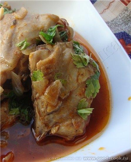 7/100 Рецепты из курицы Чахохбили из курицы кусочки курицы 2 помидора 0,5 чайной ложки острого крас...