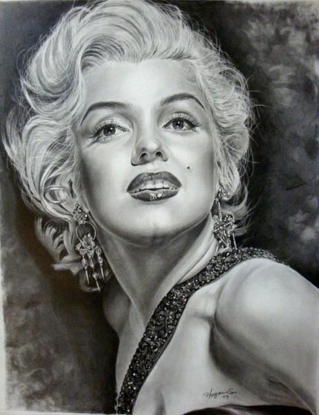 Интересный портрет Мэрилин Вот карандашный рисунок - 2