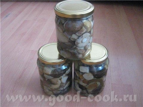 Маринованые грибы Маринад вода - 1 л соль - 1 ст л сахар - 2 чл уксус 9% - 100 мл душистый перец Гр...