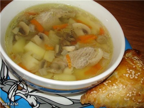 СУПЧИК ,, ДВА В ОДНОМ ,, Нам понадобиться: картофель, морковь, лук, мясо (нежирная свининка ), гриб... - 2