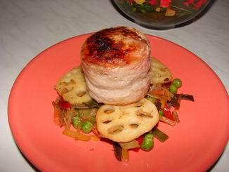 У меня сегодня вот такой ужин Свинной рулетик, с китайскими овощами (на фотке как горелый, но это м...
