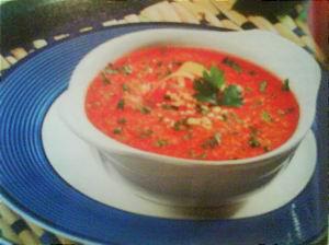 Помидорно-кабачковый суп 8 порций В одной порции: 95 ккал, 3,7г белков, 2,4 г жиров, 24,4 мг холест...