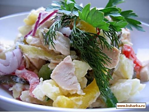 салат с курицей праздничный