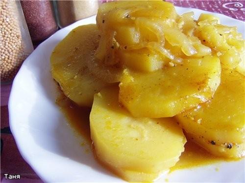 Гарнир из картофеля с луком,пряный