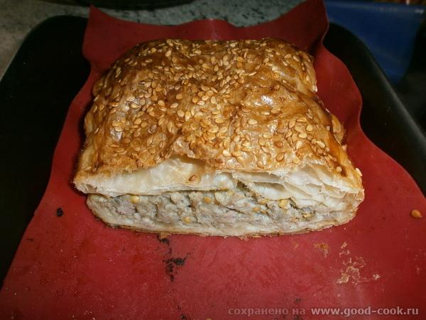 Слоёный пирог с баклажанами и мясом