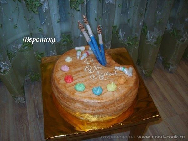 вот ещё 2 тортика: для будущей художницы: и торт для парня, который учится в муз