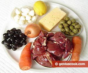 """Салат """"Жёлтый бычок"""", с куриной печенью, сыром и оливками ОТСЮДА С нежной куриной печенью получаютс... - 2"""