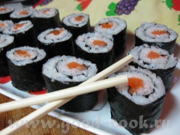 Суши с малосольной форелью Очень подробный рецепт прилагается