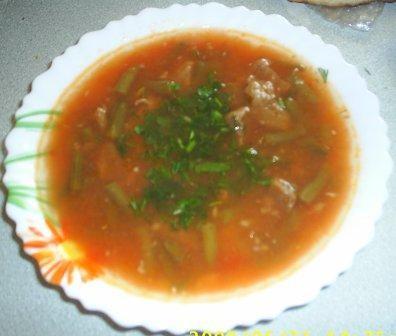А еще принесла спасибку Шороба пандора ма фасолия хадра - Суп с помидорами и зеленой стручковой фас...