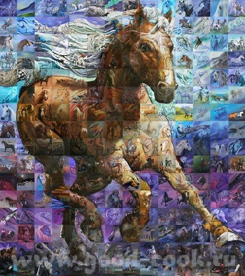 Сотни полотен художник Льюис Лавойе соединил в одну большую картину под названием «Дар лошади», на...