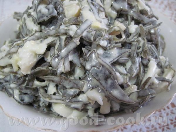 Салат из морской капусты с кальмарами Морская капуста Яйцо Кальмары Майонез Морскую капусту промыва...