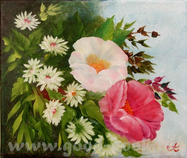 А вот мои цветы Масло
