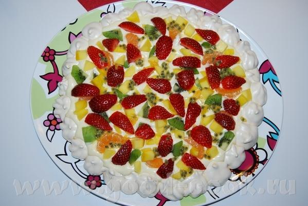 Торт-безе с апельсиновым кремом и свежими фруктами=) На 8 порций 4 белка 2дл - 3