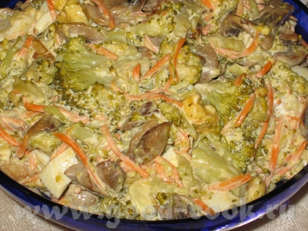 Толковый салат 1 средний кочан брокколи 1 упаковка шампиньонов (250 гр) 2-3 вареных яйца 3 стол
