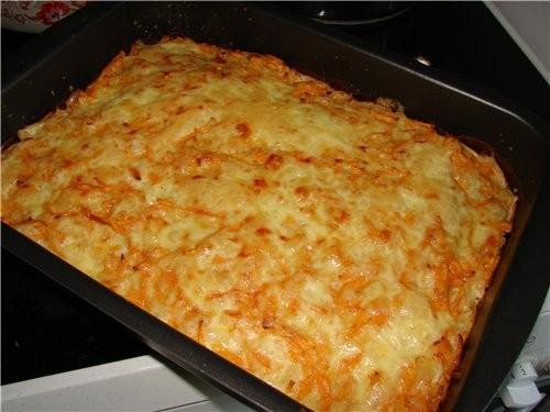 Запеканка из тыквы с сыром Преимущество – жареный лук и сыр отбивают «тыквенный» запах