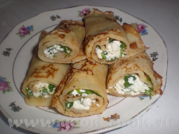 БЛИНЧИКИ С БРЫНЗОЙ Продукты для блинов: 3 яйца, 500 мл молока, 3 яйца, 300г муки, 1 ст - 2