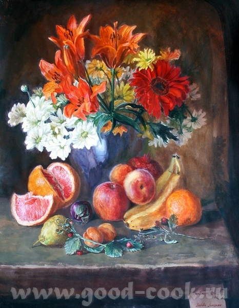 кселена я читала что для кухни, лучше всего натюрморт делать с персиками апельсинами, ярких цветов,... - 4