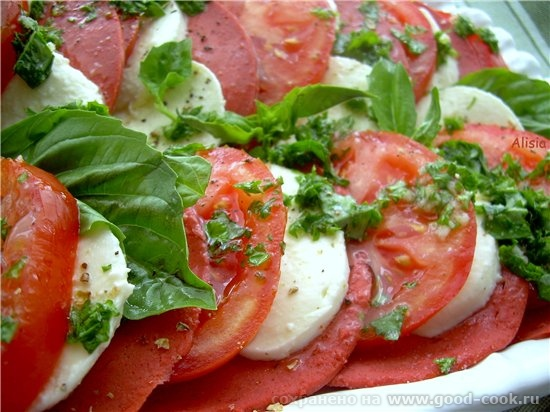 Салат с томатами и салями / Pomodori salame-Salad de tomates au salami