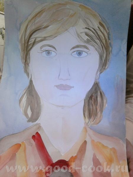 """Это сегодняшняя работа моей 9-летней художницы: """"Портрет мамы"""" Это я"""