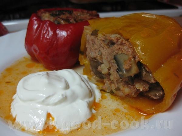Перец фаршированный мясом и грибами