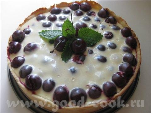 Вишнёвый пирог со сметанной заливкой Тесто на форму 24 см Яйцо - 1 шт Сахар - 100 гр Сметана - 100...