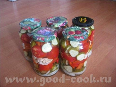 Овощное ассорти Galadriel Вода - 1 л соль - 3 стл сахар - 3 стл уксус - 9% - 11 ст л Помидоры разре...