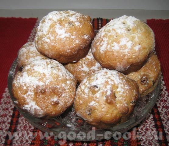 Кексики домашние с изюмом 2 яйца растереть с стаканом сахара, добавить стакан сметаны, полчайной ло...