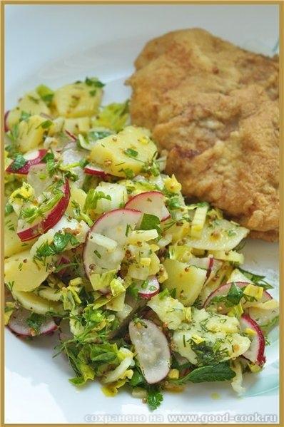 Катрофельный салат с горчичной заправкой 6-8 свареных в мундире картофелин 2 черешка сельдерея, с листьями 1 небольшая...