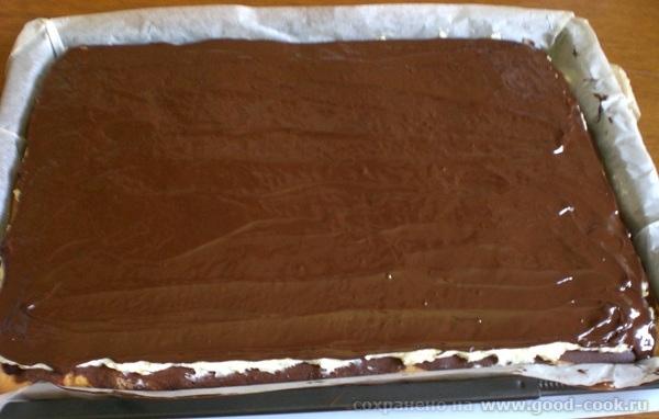шоколадная глазурь на поверхности пирога