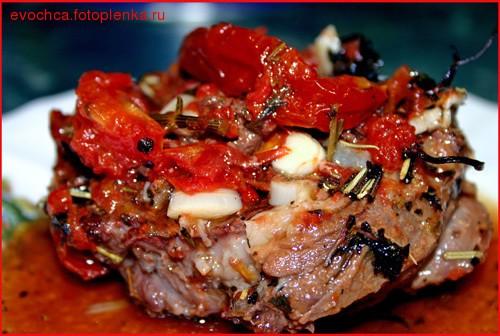 Мясо, тушеное в помидорах