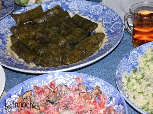 И у нас кускус, а к немы долма с баранинои и баклажанныи салатик от Верочки крымчанки