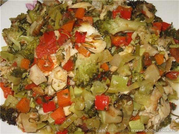РЫБА, ЗАПЕЧЕННАЯ С ОВОЩАМИ (диетическая) Вкусное рыбно-овощное блюдо, подходящее для диеты