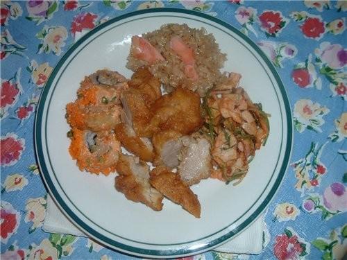 """""""Кук-си"""" Кусочки курицы,рис с соя спусом,суши и салат из морепродуктов с ресторана - 2"""