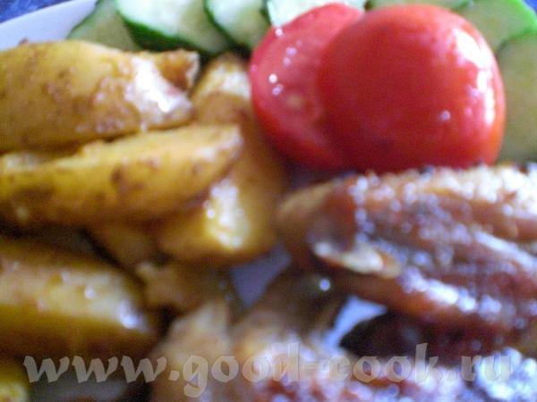 Куриные крылышки с картофелем по-деревенски (фото) Ладони обмазываем в раст - 2