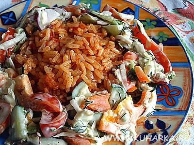 Сегодня у нас был сырный супчик с шампиньонами , красный рис с салатиком из свежих овощей и песочны... - 2