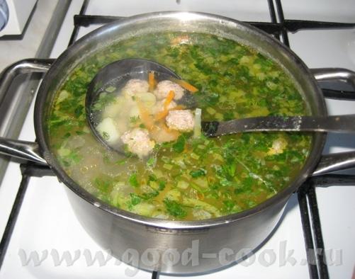 Сегодня сварила суп с фрикадельками