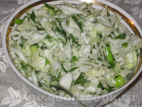 И снова пятничный ужин: Покупной салат из печеных перцев Капустный салат с зеленью и зеленым луком... - 3