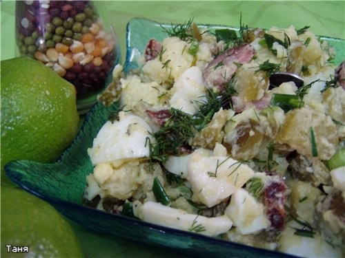 Картофельные зразы с ливером Картофельный салат с копченой колбасой - 4