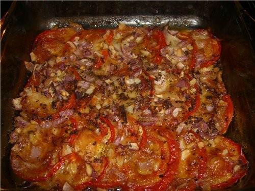 Запечёные помидоры с моцареллой