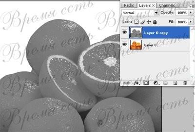 Цветное на черно-белом Открываем цветную картинку Дублируем слой, и к верхнему применяем Image > Ad... - 4