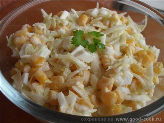 Салат капустный с кукурузой капуста белокочанная 1/3 кочана яйцо отварное 2 шт