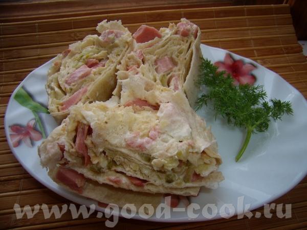 Рулет из лаваша - 2 )) Еще один вариант завтрака - рулет из лаваша