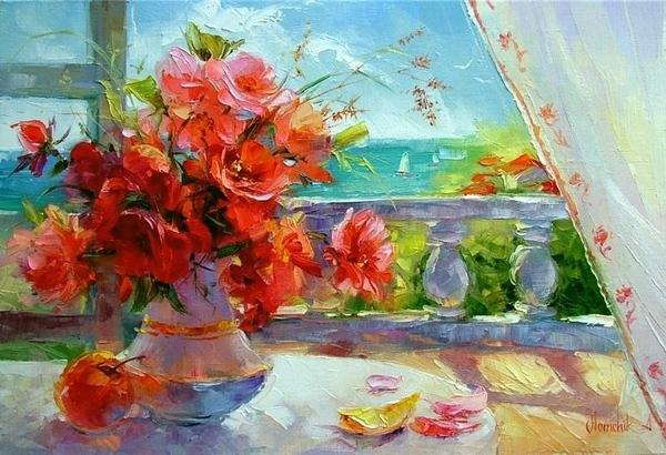 А я люблю вот такие пастозные цветы, прямо млею от них Взято у Левконои