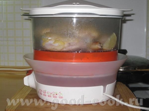 Паровые окорочка с горчичкой Ингредиенты: 4 куриных окорока, 4 зубчика чеснока, 2 дольки лимона, 4... - 3